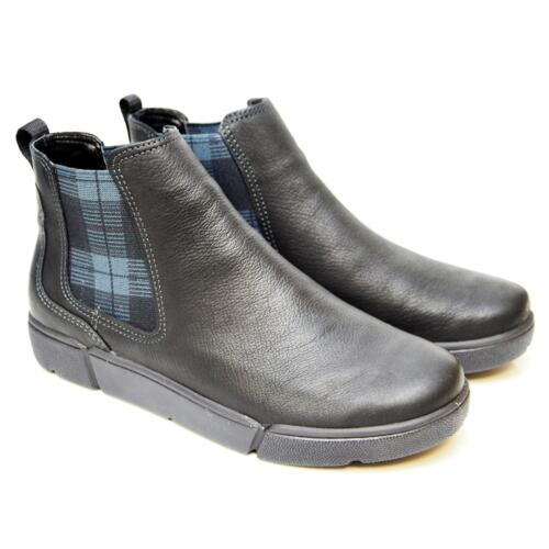 ARA CHELSEA WOMEN'S BOOTS REAL LEATHER BLACK AND TARTAN INSERT