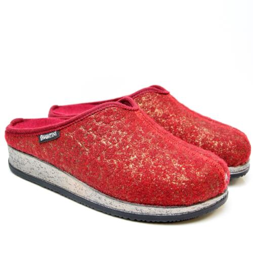 SABATINI GIADA WOMEN'S SLIPPERS WOOL REMOVABLE FOOTBED RED