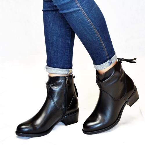 CAPRICE ANKLE BOOTS WITH HEEL AND ZIP CLOSURE LEATHER BLACK