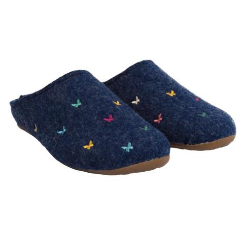 HAFLINGER FARFALLINE WOMEN'S SLIPPERS WOOL FLOWERS BUTTERFLY