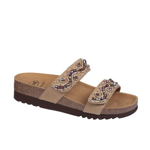 DR.SCHOLL'S ZAFIRAH  WOMEN'S SLIPPERS DOUBLUE STRAPS CANVAS SAND