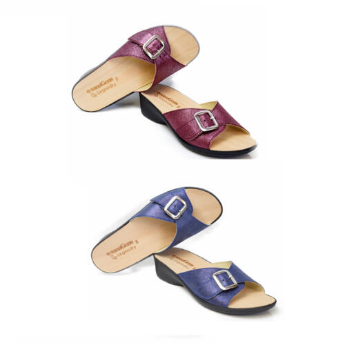 SANAGENS WOMEN'S SLIPPERS WITH BUCKLE AND REAL WOOD'S FOOTBED