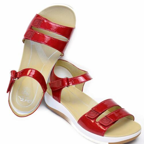 ARA WOMEN'S SANDALS HIGHT SOFT SOLE TRIPLE STRAPS PATENT LEATHER
