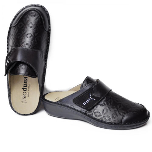 DUNA WOMEN'S COMFORTABLE SLIPPERS PEARLY-HELIX LEATHER BLACK