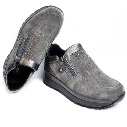 ENVAL SOFT WOMEN'S SLIP-ON MOCASSIN SUEDE LEATHER GREY