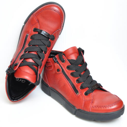 ARA WOMEN'S SNEAKER WITH LACES SOFT LEATHER RED
