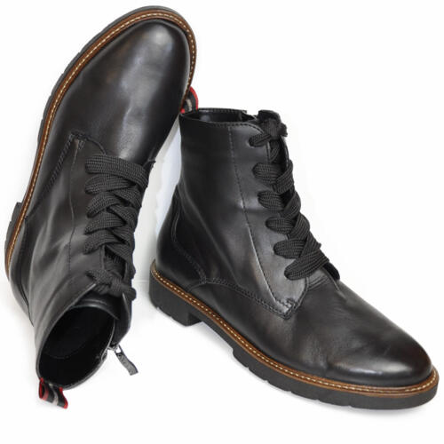 ARA WOMEN'S HIGH TOP BOOTS WITH LACES ULTRA SOFT LEATHER BLACK