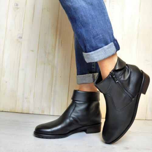 ARA WOMEN'S ANKLE BOOTS SOFT LEATHER BLACK