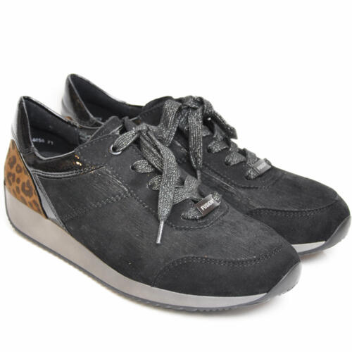 ARA WOMEN'S SNEAKER WITH LACES LEATHER BLACK/ANIMALIER