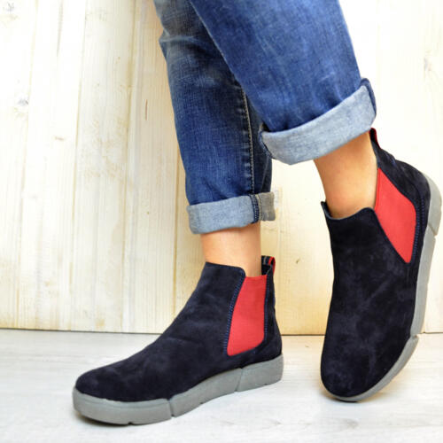 ARA WOMEN'S SLIP ON ANKLE BOOTS SUEDE LEATHER VELOUR BLUE AND RED