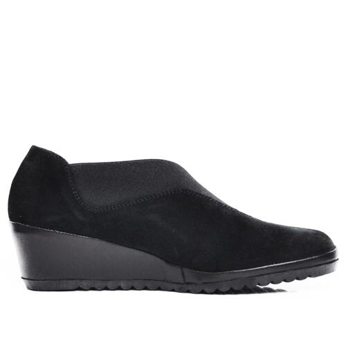 VALE WOMEN'S MOCASSIN ELASTIC CROSSED BAND SUEDE LEATHER BLACK