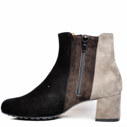 VALE WOMEN'S ANKLE BOOTS SUEDE LEATHER TRICOLOUR BLACK BROWN GREY