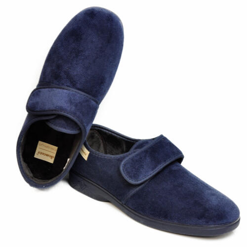 DIAMANTE MEN'S HOUSE SLIPPERS VELCRO CLOSURE BLUE