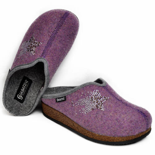 SABATINI WOMEN'S SLIPPERS REMOVABLE INSOLE WOOL HORTENSIA
