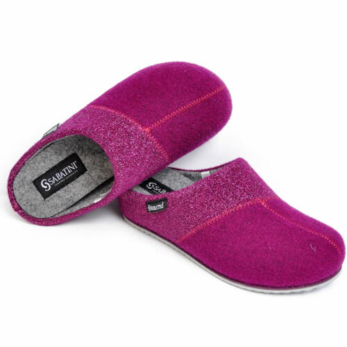 SABATINI WOMEN'S SLIPPERS REMOVABLE INSOLE WOOL CYCLAMEN