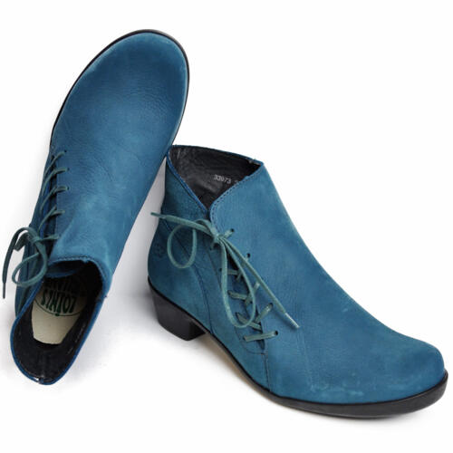 LOINTS OF HOLLAND OPERA WOMEN'S ANKLE BOOTS LACES LEATHER TORQUOISE