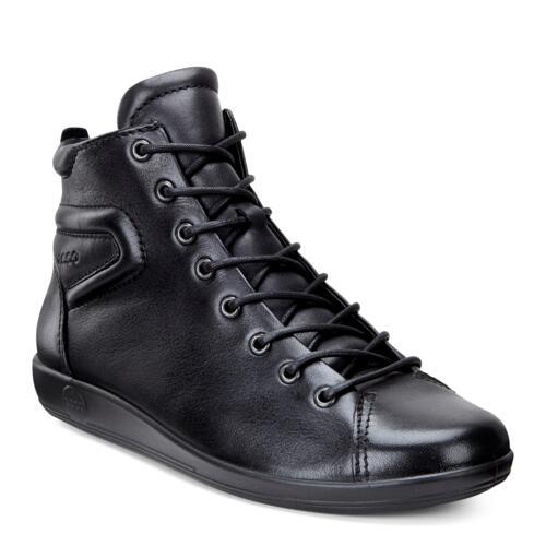 ECCO SOFT 2.0 WOMEN'S ANKLE BOOTS WITH LACES LEATHER BLACK