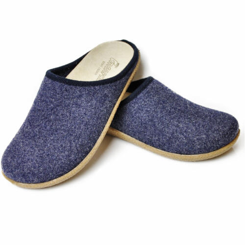 TIROL BONN MEN'S HOUSE SLIPPERS REMOVABLE LEATHER INSOLE MERINOS WOOL JEANS