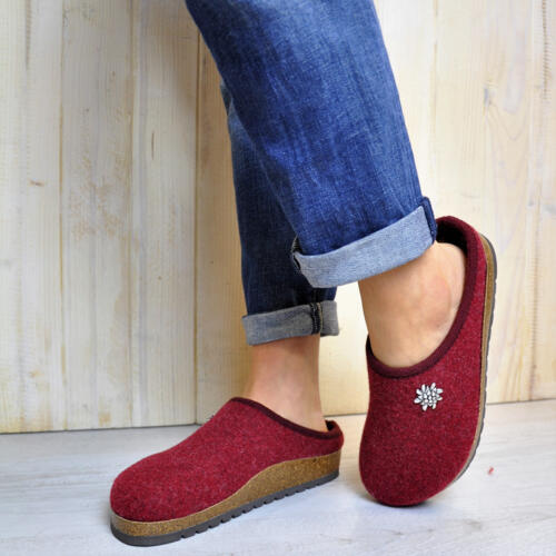 TIROL INNSBRUCK WOMEN'S SLIPPERS MERINOS WOOL ANATOMICAL FOOTBED BORDEAUX
