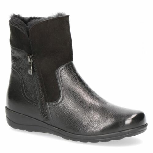 CAPRICE ANKLE BOOTS SOFT LEATHER ECO-FUR ZIP CLOSURE COMFORTABLE FITTING
