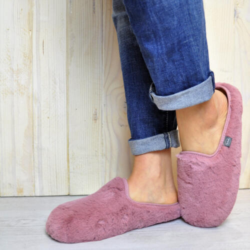 DR.SCHOLL'S MADDY SLIPPER PINK AND CAMEL ECO-FUR BIOPRINT FOOTBED