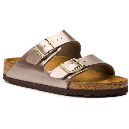 BIRKENSTOCK ARIZONA WOMEN'S FLIP FLOPS ELECTRIC METALLIC TAUPE
